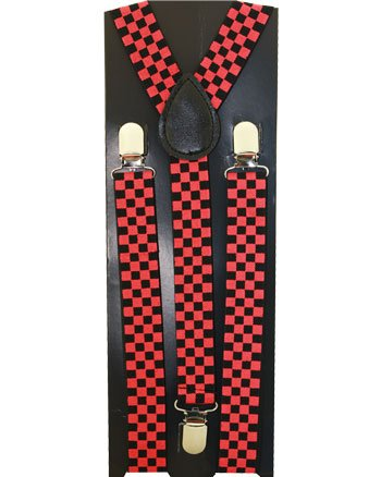 Outer Rebel Red Black Mini Checkered Suspenders