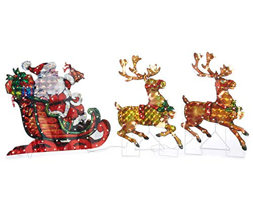 North Pole Christmas 5ft Long / 26'' High Lighted Holographic Santa Sleigh Reindeer Yard Decoration 150 Lights by North Pole