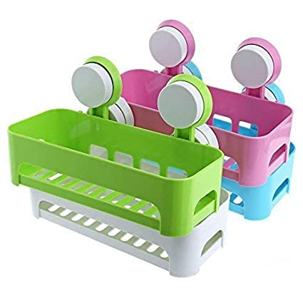 FastUnbox 2 Pieces Plastic Vacuum Suction Bathroom Cup Bathroom Kitchen No Drill Storage Rack Removable Reusable Storage Rack Holder Organizer Basket Shower Shelf (Multi Color)