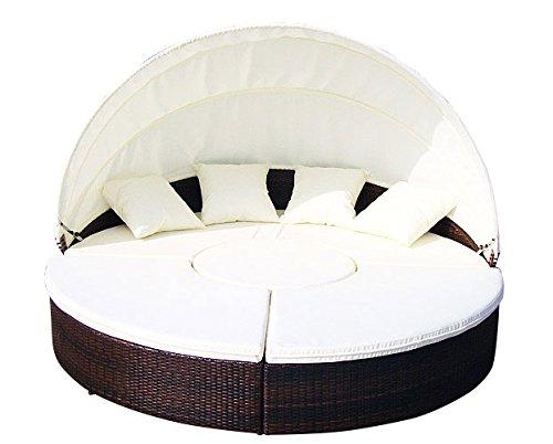 Baidani Gartenmöbel-Sets 10b00002.00002 Designer Rattan Lounge-XXL-Sofa Atlantis, 1 Lounge-Insel, Sonnendach, Sitzazflagen, braun