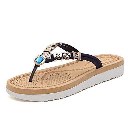 Btrada Donna Casual Sandali Pantofole Piatte Clip Punta Bohemian Strass Spiaggia Infradito Blu Profondo