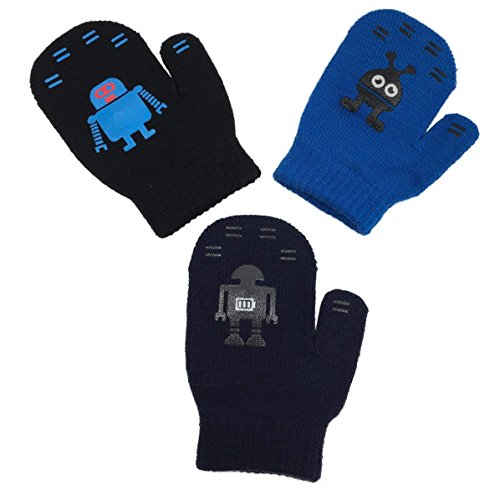 Price comparison product image N'Ice Caps Toddler Boys and Infants Magic Stretch Mittens 3 Pairs Assortment (Robots - Black/Navy/Royal, 2-4 Years)