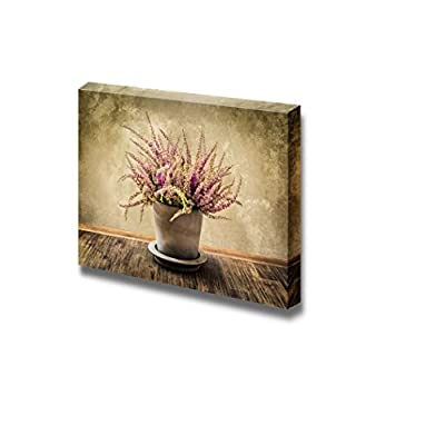 Canvas Prints Wall Art - Detail of Heather Flower in Pot Vintage/Retro Style | Modern Wall Decor/Home Decoration Stretched Gallery Canvas Wrap Giclee Print & Ready to Hang - 32