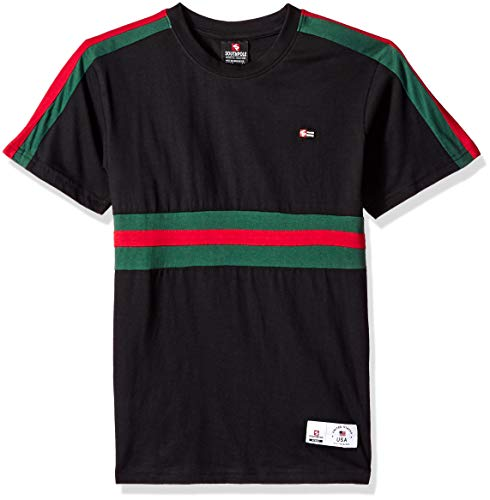 (Southpole - Kids Boys Stripe Short Sleeve Fashion Tee Shirt, Black Color, Large)