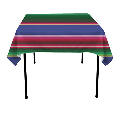 (JACINTAN Square Tablecloth - 36 x 36 Inch - Novel Mexican Blanket Stripes Square Table Cloth for Tables in Washable Polyester - Great for Buffet Table, Parties, Holiday Dinner, Wedding & More)