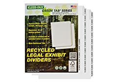 Kleer-Fax Letter-Size Index Dividers, Collated Exhibit 26-50 Number Sets, Side Tab, 1/10th Cut, 1 Set per Pack, White (80222)
