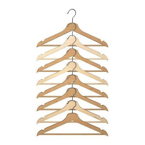 Ikea Perchas Bumerang 8 Unidades de Madera Maciza de Hojas de Madera Natural – – Acrílico Lacado