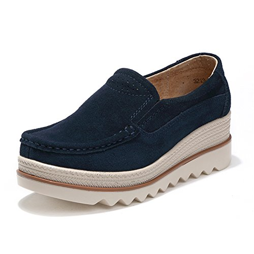 HKR Blue Comfort Women Low Slip Wedge Platform Dark Suede Wide Top Loafers On Shoes Moccasins qZBqrWS6