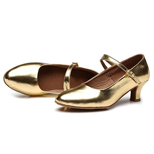 HROYL Zapatos de baile/Zapatos latinos de PU mujeres ES-MD225 Oro