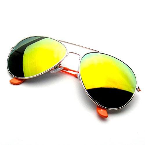 Aviator Sunglasses Mirror Lens New Men Women Fashion Frame Retro Pilot (Colorful Arm | Orange, - Mirror Sunglasses Orange