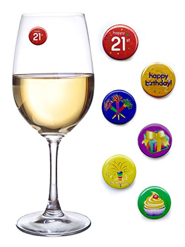 21st Birthday Party Magnetic Wine Charms for Wine Glasses, Champagne Flutes Etc. Set of 6 by Simply Charmed