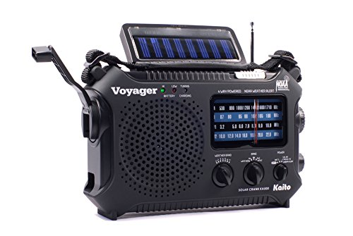 Kaito KA500 5-way Powered Emergency AM/FM/SW NOAA Weather Alert Radio with Solar,Wind Up,Dynamo Crank,Flashlight and Reading Lamp, Cellphone Charger,Color (Blk Usb Fm Radio)