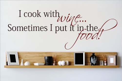 Design with Vinyl OMG 469 As Seen I Cook with Wine Sometimes I Put It In The Food Quote Lettering Decal Home Decor Kitchen Living Room Bathroom, 8 by 30-Inch, As Seen