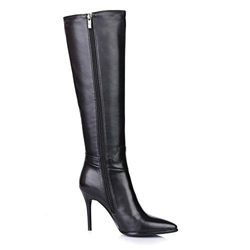564ddcfe1b1 Nine Seven Cuero Moda Puntiagudos Botas Largas Negro de Tacón de Aguja con  Cremallera de Invierno para Mujer (37, negro): Amazon.es: Zapatos y  complementos