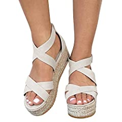 Kathemoi Womens Flatform Espadrille Strappy Open Toe Ankle Mid High Wedge Platform Sandals Please measure your heel to toe length and choose the accurate size from the foot measurements, Please allow a little error. 36EU--24.2cm (Insole Hell ...