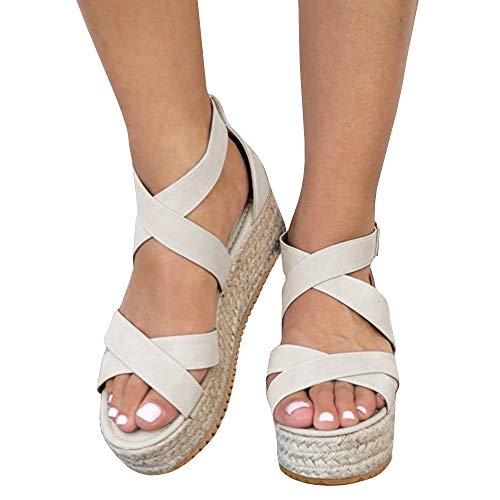 (Kathemoi Womens Flatform Espadrille Strappy Open Toe Ankle Mid High Wedge Platform Sandals Light Khaki )