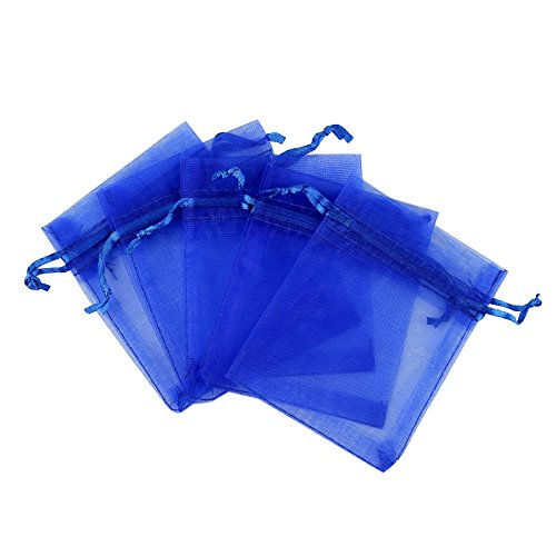 Anleolife 100pcs 3×4 inch Organza Drawstring Bags Blue Sheer Organza Favor Bags For Wedding Party Baby Shower Business Display Jewelry Candy Organizer Bag Mesh Gift Pouches
