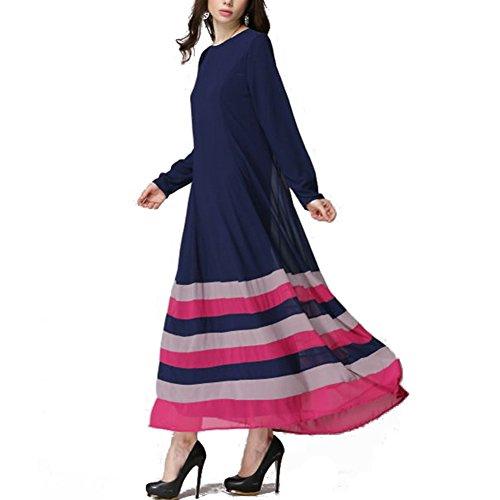 Highdas musulmanes adoran a las mujeres de manga larga vestido de color hechizo raya del arco iris grandes yardas vestido maix Dark Blue