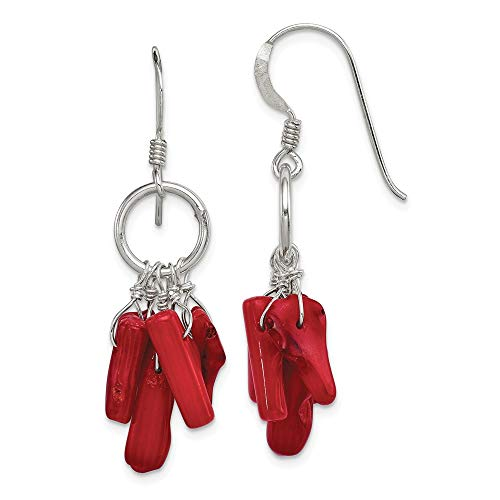 925 Sterling Silver Red Coral Drop Dangle Chandelier Earrings Fine Jewelry Gifts For Women For Her ()