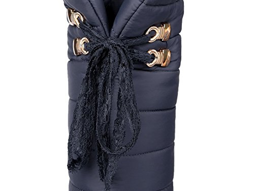 Allhqfashion Dames Ronde Dichte Neus High-top Kitten-hakken Solid Blend Materialen Boots Blauw