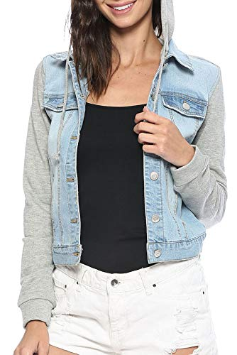 (Urban Look Women's Casual Stretch Denim Jean Jacket (Medium, C Light Wash))