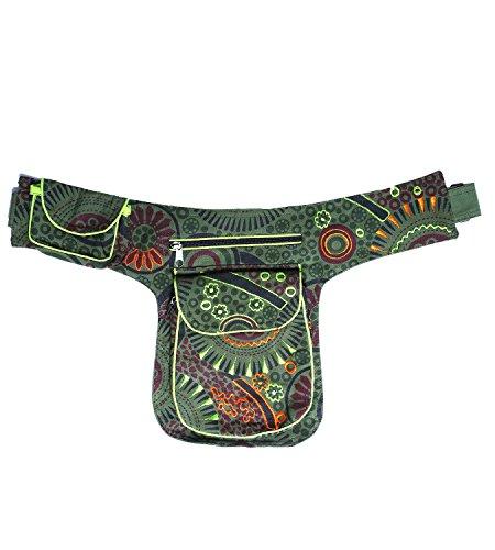 Goa - Bolso bandolera / riñonera / bolso para cinturón, estilo hippie Verde - Army Green