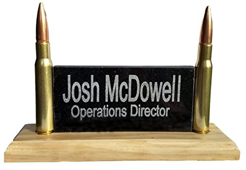 (Ultimate Office Desk Name Plate| Personalized Engraved Granite Plaque with Real 50 Cal Bullets | Great for FBI or Law Enforcement | Made in The USA)