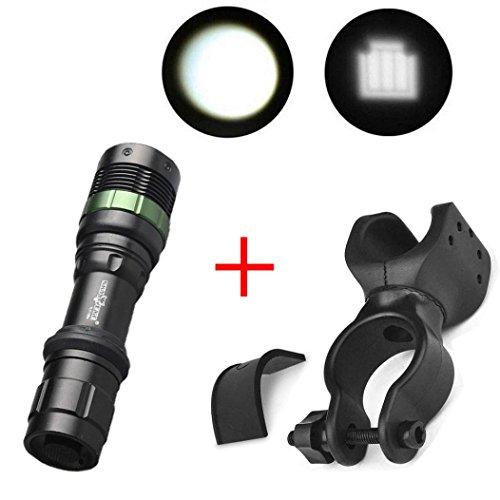Hometom Super Bright CREE XML T6 LED Zoomable Flashlight Bicycle 360°Mount Clip Set (Black) - Xml T6 Led Bike