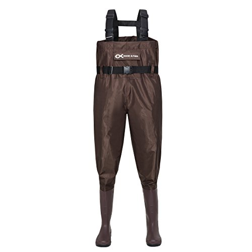 cb85e30c31850 Duck and Fish Brown Chest Wader Cleated Boot Foot with Waist Belt (10 M US  Men)