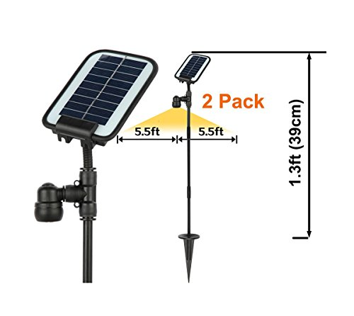 11' Landscape (AMSU 2 PACK GL0 Innovative BROAD-BEAMED Solar Garden/Path Light --Much Brighter than Normal Garden Light --Covering 11 FOOT DIAMETER Area --Working ALL NIGHT ROUND ALL YEAR ROUND in Most Areas)