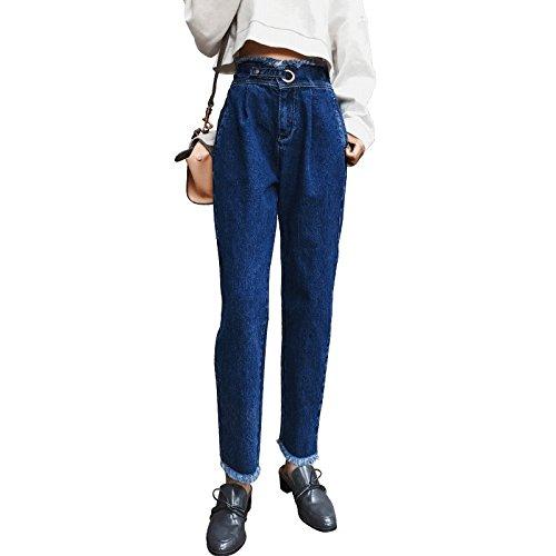 sottile direttamente Jeans piedi haren pantaloni alta pantaloni pantaloni Da inverno Donnai a ravanello vita mina bud jeans blue nuovo a donna MDRW aTwPqdq