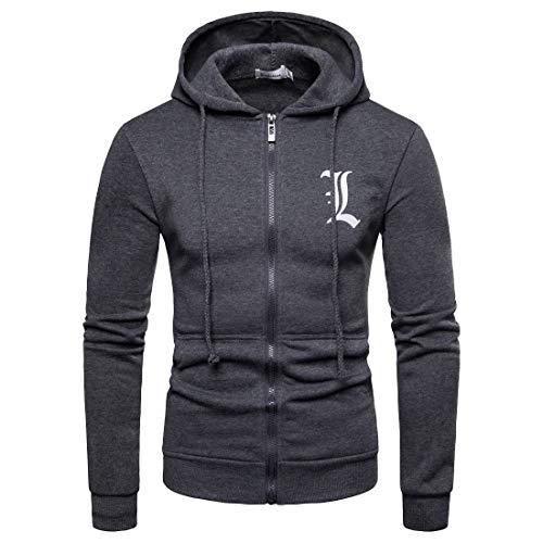 (Stillieve Anime Series of Death Note Men's Hoodies Long Sleeve Sweater Zipper Sweatshirts(M, Grey))