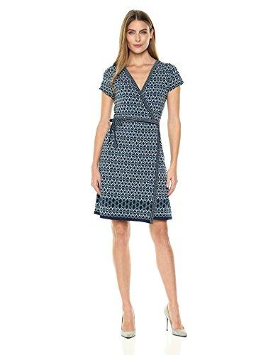 Lark & Ro Women's Short Sleeve Wrap Dress, Blue Geo Print, Medium (Short Sleeve Print Wrap Dress)