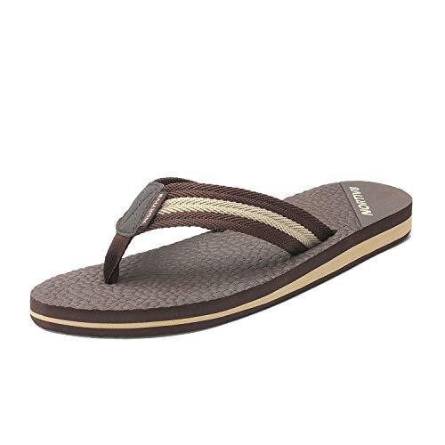 (NORTIV 8 Men's 181113M Brown Classical Thong Flip Flops Sandals Comfortable Light Weight Beach Sandal Size 11 M US)