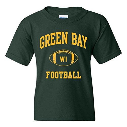 Green Bay Classic Football Arch American Football Team Sports Youth T Shirt - Small - Forest (Packers Shirt Girls)