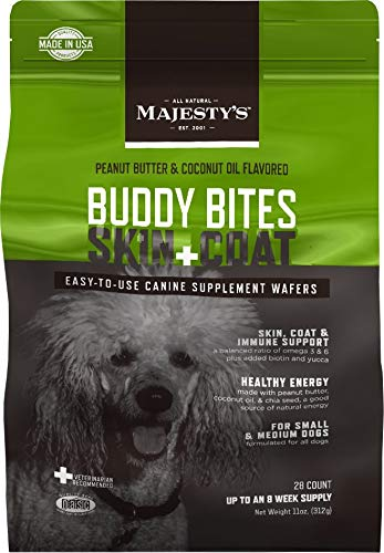 Majesty's Buddy Bites Skin and Coat Supplement for Small and Medium Dogs - Peanut Butter and Coconut Oil Flavored - 28 Count Bag ()