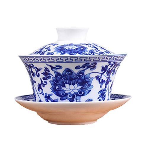 Cuteboom Teacup Coffee Dish Jingdezhen Lotus Traditional Chinese Teaware China Traditional HBlue and White Porcelain Large Gaiwan Kungfu Teacup (Lotus) by Cuteboom