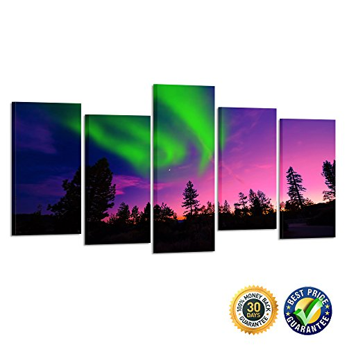 22' Art Print Poster (Kreative Arts- 5 Piece Multi Panel Northern Light Aurora Wall Canvas Art Modern Canvas Print Stretched and Framed Artwork Room Decoration Wall Painting Ready to Hang (Medium Size : L 40'' x H 22''))