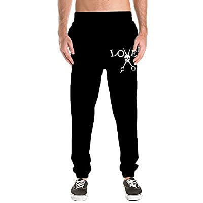 Top Okb-7 Men's Love Skull Barber Hair Stylist Casual Cotton Jogger Pants,Gym Beam Trousers supplier