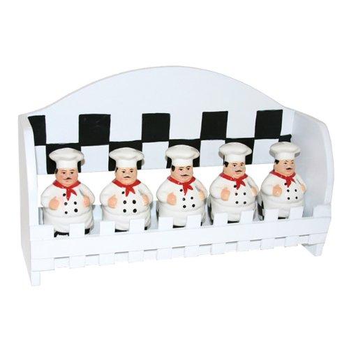 5pc spice rack w/wood holder. Fat Bistro Chef Ceramic