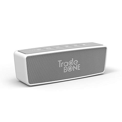 Portable Wireless Bluetooth Stereo Speaker with 24-Hour Playtime, Hands-Free Function, Louder Volume 10W +, NFC, Siri and S-Voice Support, V4.0 with AUX Input and Headphone Jack (White)
