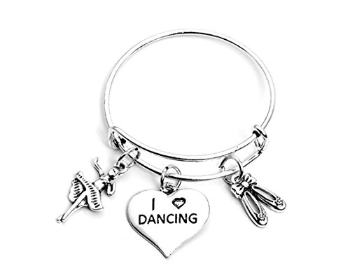 Silver Ballet Slippers Jewelry - Infinity Collection Dance Bangle Bracelet- Girls Dance Jewelry - Perfect Gift For Dance Recitals, Dancers and Dance Teams(2 Sizes Available)