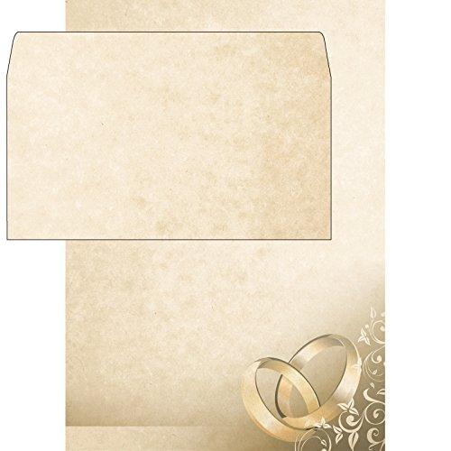 DIN A4 // inkl Umschl/äge Brauner Marmor mit Ringen 25x Designpapier Hochzeit // Liebe