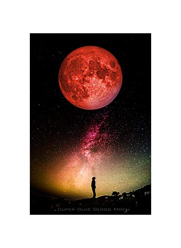 Super Blue Blood Moon Commemorative Poster - NASA Space Image Wall Art 24