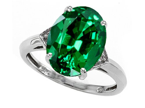 12x10mm Oval Ring Setting - Tommaso Design Oval 12x10mm Simulated Emerald Ring 14 kt White Gold Size 6