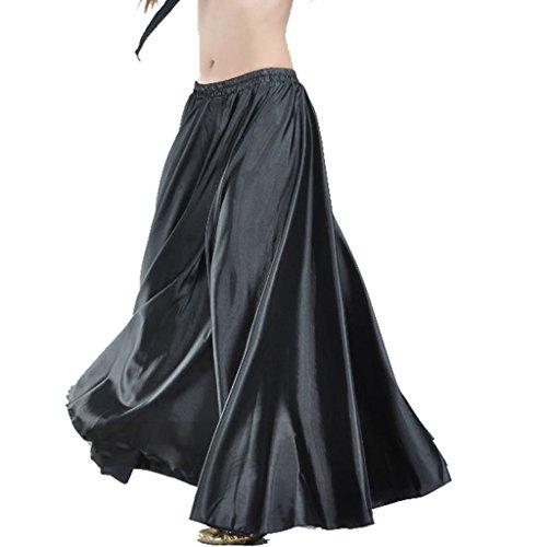 - Wuchieal Women's Belly Dance Satin Skirt Full Circle Long Sexy Dancing Costume Lady dress Black