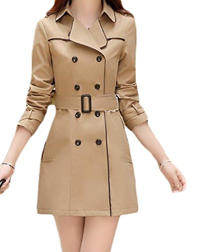 Vska Wome's Classic Double-Breasted Slim Solid Belted Trench Coats Khaki US S -