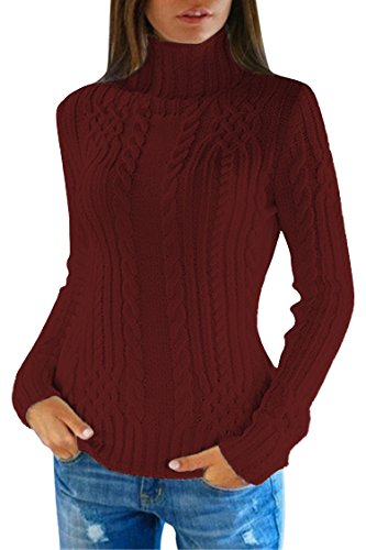 Pink Queen Women's Cable Knit Crewneck Casual Pullover Sweater (M, Wine Red) Cable Knit Turtleneck Sweater