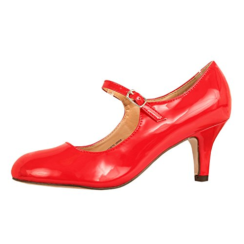 Womens Classic Mary Jane - Vintage Cute Low Kitten Heel - Round Closed Toe - Elegant Pumps-Shoes, Red Patent, - Pump The Red Rock
