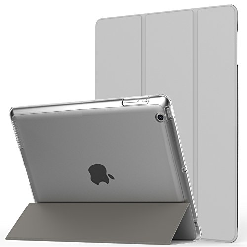 MoKo Case Fit iPad 2/3/4 - Ultra Lightweight Slim Smart Shell Stand Cover with Translucent Frosted Back Protector Fit iPad 2/The New iPad 3 (3rd Gen)/iPad 4, Silver (with Auto Wake/Sleep)